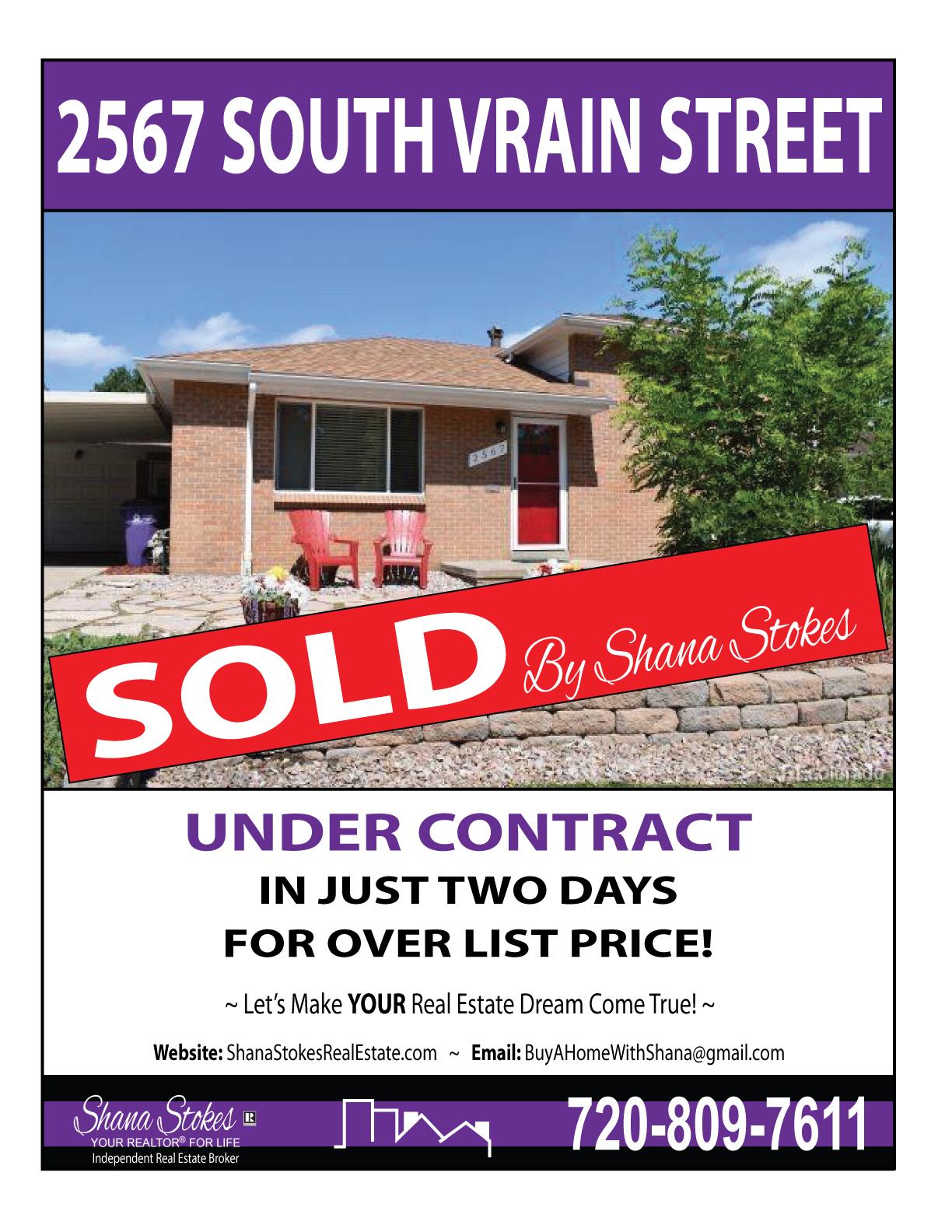 2567 S Vrain, Denver CO is SOLD!